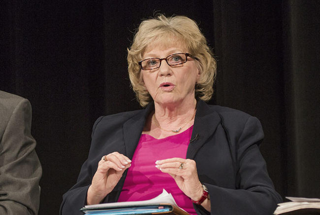 Senator Joyce Woodhouse, senate committee on education, speaks during a K-12 Education Policy Committee panel discussion at Vegas PBSon Tuesday, Dec. 16, 2014. (Jeff Scheid/Las