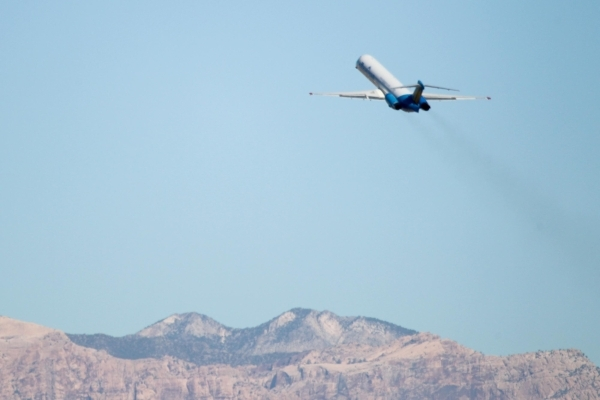 An Allegiant airplane takes off from McCarran International Airport on Sunday, July 26 2015. (James Tensuan/Las Vegas Review-Journal) Follow James Tensuan on Twitter @jtensuan