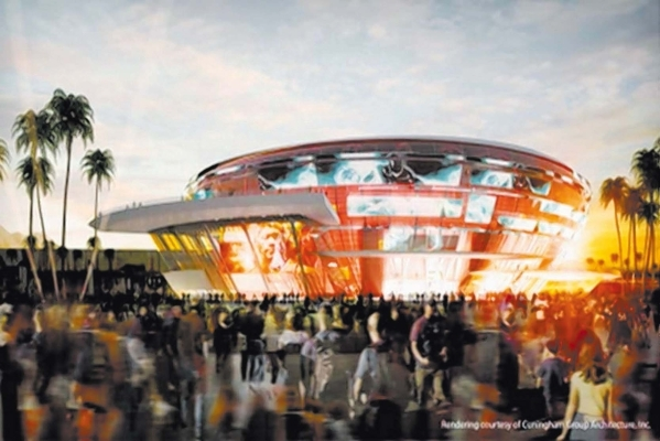 Former UNLV basketball player and Las Vegas businessman Jackie Robinson proposed a $690 million arena as part of a $1.3 billion privately funded resort complex on the Strip next to the under-const ...