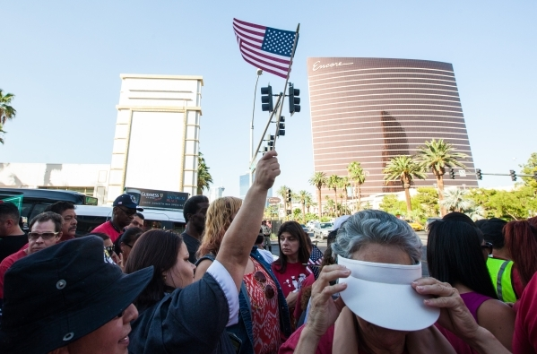 Culinary Union Local 226 members and supporters prepare to protest against the Trump International Hotel along Fashion Show Drive in Las Vegas on Friday, Aug. 21, 2015. Chase Stevens/Las Vegas Rev ...