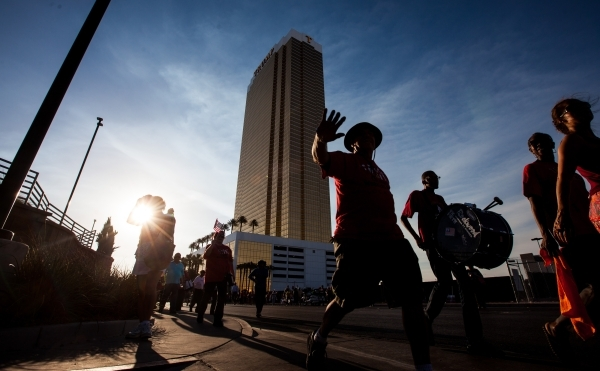 Culinary Union Local 226 members and supporters protest in front of Trump International on Friday. Chase Stevens/Las Vegas Review-Journal