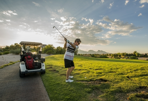 Jeff Ludvik golfs at Badlands Golf Course, 9119 Alta Drive, on Thursday, Sept. 10,2015.EHB Companies, the developers behind high-end retail center Tivoli Village, confirmed it had bought the cash- ...