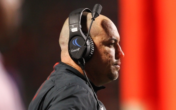 UNLV head coach Tony Sanchez looks on as the team plays Fresno State during a football game at Bulldog Stadium in Fresno, Calif. on Friday, Oct. 16, 2015. Chase Stevens/Las Vegas Review-Journal Fo ...