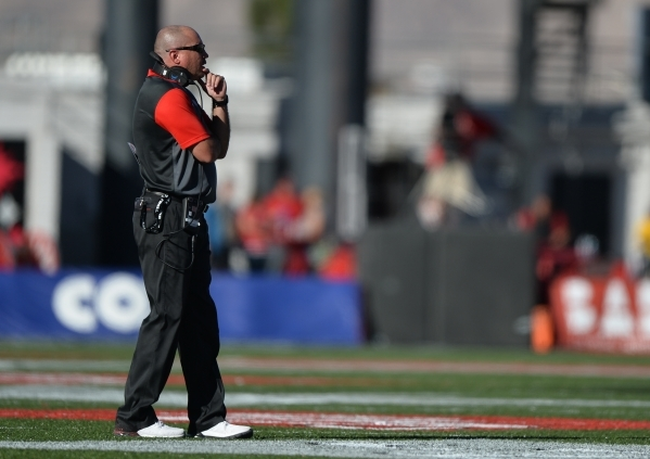 UNLV head coach Tony Sanchez talks to a referee during the Boise State at UNLV game at Sam Boyd Stadium on Saturday, October 31, 2015, in Las Vegas. Boise State won 55-27. Brett Le Blanc/Las Vegas ...