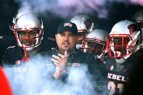 UNLV head coach Tony Sanchez waits with his players in the tunnel before their Mountain West Conference football game against Hawaii Saturday, Nov. 7, 2015 at Sam Boyd Stadium. UNLV won the game 4 ...