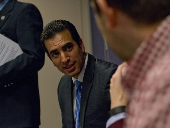 Nevada State Senator and Democratic National Committeeman for Nevada Ruben Kihuen  speaks with Democratic Party volunteers during an event at the Cambridge Recreation Center in Las Vegas marking 1 ...
