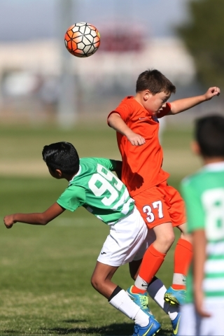 Celtic Fuego's Esteban Paz (99) and Heat FC Anthony Sena (37) fight for ball possession in their soccer game at Bettye Wilson Soccer Complex in Las Vegas Saturday, Nov. 14, 2015. The two tea ...