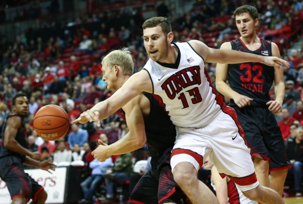 UNLV forward Ben Carter (13) chases after the ball while playing against Southern Utah at the Thomas & Mack Center in Las Vegas on Wednesday, Nov. 18, 2015. Chase Stevens/Las Vegas Review-Jour ...