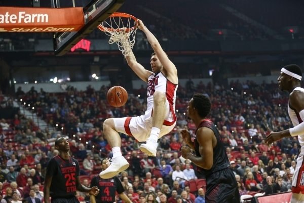UNLV forward Ben Carter (13) dunks the ball against Southern Utah during the first half at the Thomas & Mack Center in Las Vegas on Wednesday, Nov. 18, 2015. Chase Stevens/Las Vegas Review-Jou ...