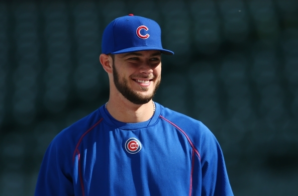 Oct 19, 2015; Chicago, IL, USA; Chicago Cubs third baseman Kris Bryant during practice the day before game three of the 2015 NLCS at Wrigley Field. Mandatory Credit: Jerry Lai-USA TODAY Sports