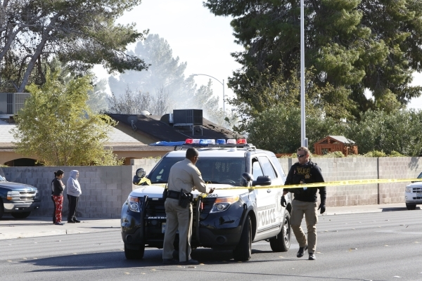lice are investigating a house fire after three people are in critical condition near Lamb Boulevard and Sherrill Avenue, Monday, Nov. 16, 2015. Bizuayehu Tesfaye/Las Vegas Review-Journal Follow @ ...