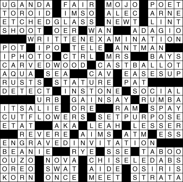 View crossword puzzle solution for Dec. 3, 2015. Click for images for answers and click through for sudoku answer.