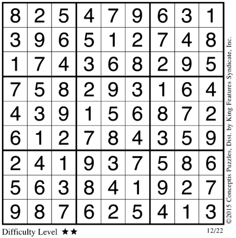 View sudoku puzzle solution for Dec. 3, 2015.