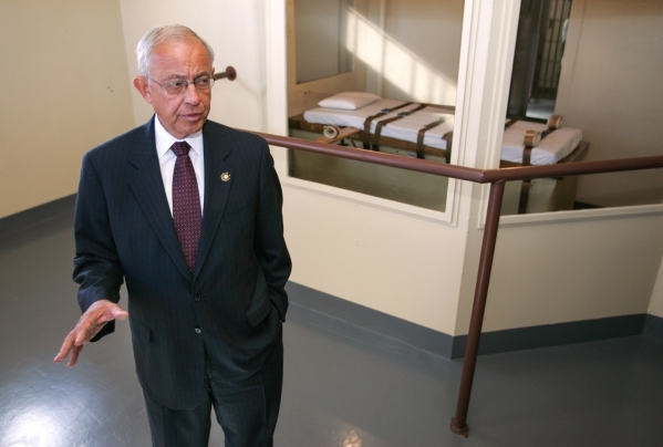 Nevada Department of Corrections Director Howard Skolnik answers media questions Thursday, Oct. 11, 2007, in the execution chamber at the Nevada State Prison in Carson City, Nev., as prison offici ...
