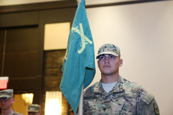 Spc. Jericho Magallon stands at attention during his mobilization ceremony with about 35 other  members of the Nevada Army National Guard's 137th Military Police Detachment at Aliente casino ...