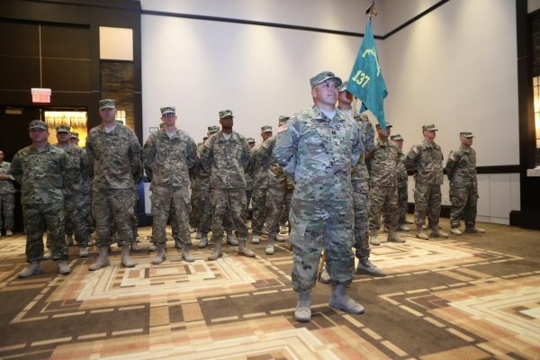 Soldiers from the Nevada Army National Guard´s 137th Military Police Detachment participate during their mobilization ceremony at Aliente casino-hotel in North Las Vegas Tuesday, Nov. 24, 2015. E ...