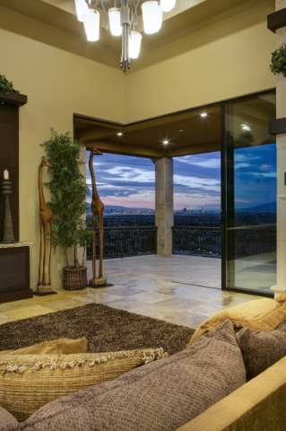 The living room's balcony has a view of the Las Vegas Valley. COURTESY