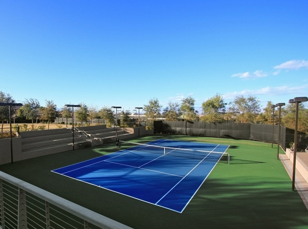The Dragon Ridge Country Club fitness center has tennis courts.  COURTESY