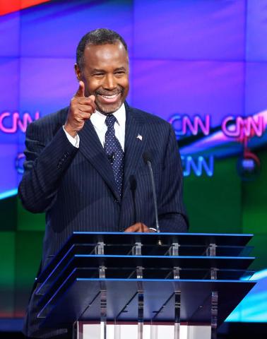 Ben Carson points during the CNN Republican presidential debate at the Venetian hotel-casino in Las Vegas on Tuesday, Dec. 15, 2015. Chase Stevens/Las Vegas Review-Journal Follow @csstevensphoto