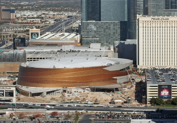 Construction continues on the MGM Resorts International-AEG Arena near New York New York and Monte Carlo hotel-casinos Friday, Nov. 20, 2015, in Las Vegas. (Ronda Churchill/Las Vegas Review-Journal)