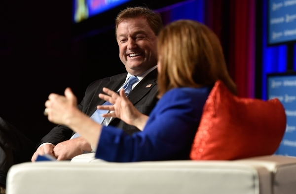 U.S. Sen. Dean Heller, R-Nev. speaks with columnist Ruth Marcus of The Washington Post during the Post's 2016 Pregame at the MGM Grand on Monday, Dec. 14, 2015, in Las Vegas. David Becker/La ...