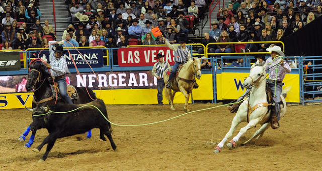 Team ropers Junior Nogueira from Scottsdale, Ariz., left, and JoJo LeMond from Andrews, Texas., are seen during the first go-round of the 2015 Wrangler National Finals Rodeo at the Thomas & Ma ...