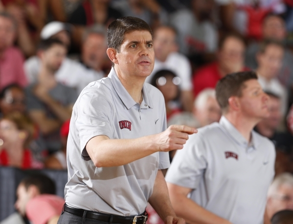 UNLV coach Dave Rice coaches on the sidelines against the Chaminade Silverswords during the Maui JIm Maui Invitational at the Lahaina Civic Center in Lahaina, Hawaii, on Tuesday, Nov. 24, 2015.  B ...