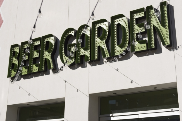 Signage for Beer Garden Beercraft & Foodery at the Plaza hotel-casino in Las Vegas is shown Tuesday, Dec. 1, 2015. Jason Ogulnik/Las Vegas Review-Journal