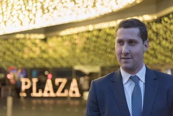 Plaza CEO Jonathan Jossel poses at the main entrance to the Plaza hotel-casino in Las Vegas Tuesday, Dec. 1, 2015. Jason Ogulnik/Las Vegas Review-Journal