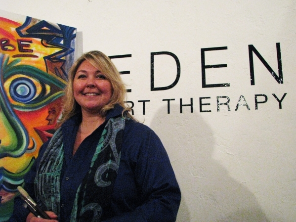 Eden Pastor stands in front of her space, Eden Art Therapy, in The Arts Factory, 107 E. Charleston Blvd. Pastor is one of just a handful of licensed art therapists in Southern Nevada. (F. Andrew T ...