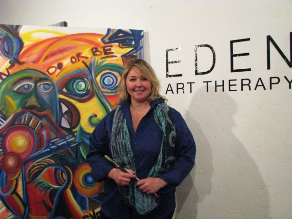 Eden Pastor stands in front of her space, Eden Art Therapy, in The Arts Factory, 107 E. Charleston Blvd. Pastor is one of just a handful of licensed art therapists in Southern Nevada. F. Andrew Ta ...
