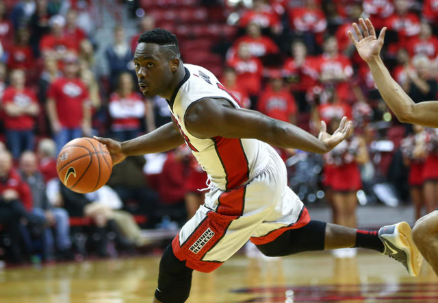 UNLV guard Ike Nwamu (0) drives the ball against Prairie View A&M during a basketball game at the Thomas & Mack Center in Las Vegas on Saturday, Nov. 28, 2015. UNLV won 80-62 over Prairie  ...