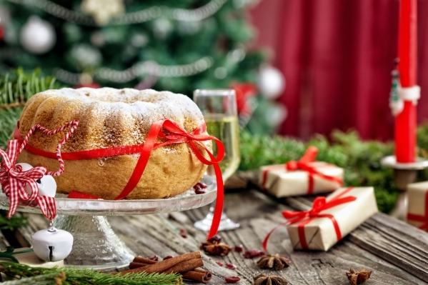 Christmas cake with Christmas decoration