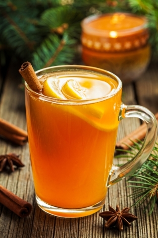 Traditional hot toddy winter drink with spices recipe. Healthy organic