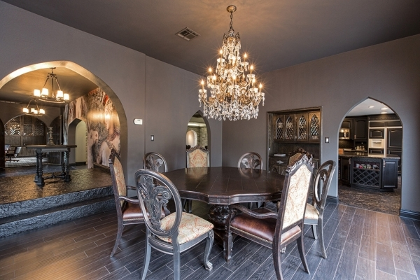 The castle home at  500 Rancho Circle got an upgraded dining room and kitchen when its new owners spent $150,000 to update the 6,500-square-foot custom home.  DAVID REISEMAN/REAL ESTATE MILLIONS