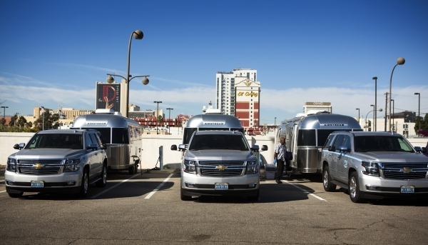 Different sites in downtown Las Vegas both feature Airstream