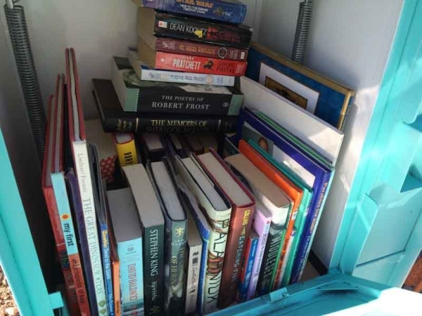 The interior of a Little Free Library is seen Oct. 30, showing the variety that one can contain. They come in a variety of sizes but most hold roughly 30 books. Jan Hogan/View