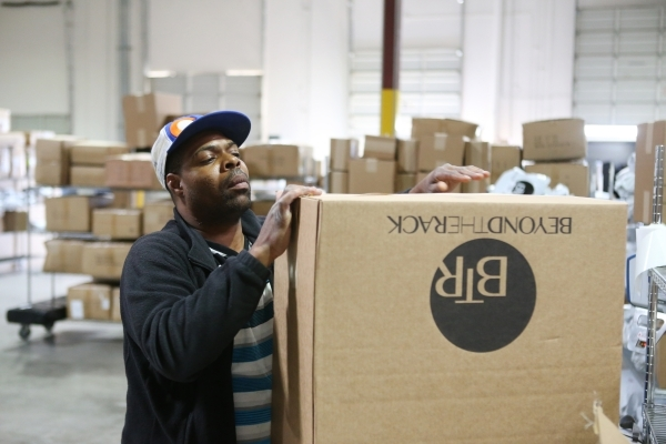 Eli Adkins, temporary worker at Beyond The Rack, assembles a box at the Beyond The Rack warehouse in North Las Vegas Wednesday, Dec. 2, 2015. Erik Verduzco/Las Vegas Review-Journal Follow @Erik_Ve ...