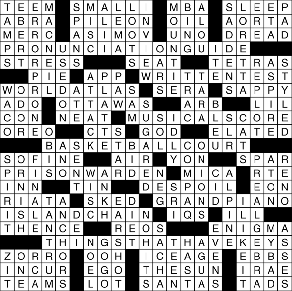 View's Dec. 17, 2015, crossword puzzle solution. Click the image for the puzzle or for sudoku puzzle and solution.