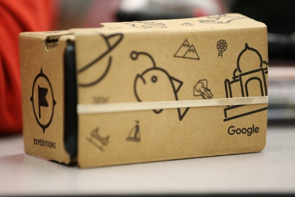A Google Cardboard headset sits on a desk during a Google Expeditions program class at Leavitt Middle School in Las Vegas Friday, Dec. 4, 2015. The headset allows students to view and explore site ...