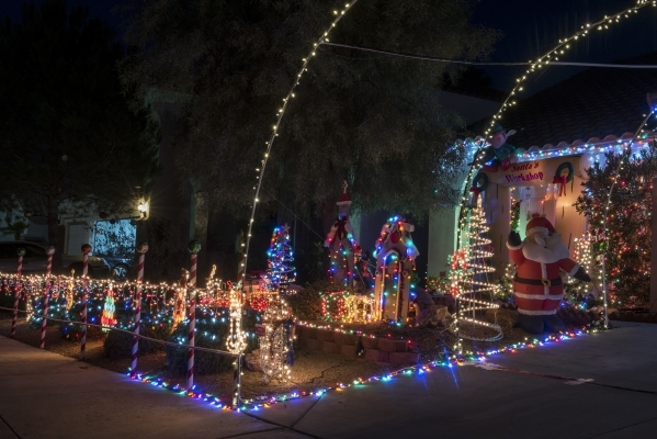 Christmas lights are seen at Bob Sacco's house in Henderson on Friday Dec. 4, 2015. Sacco has close to 5,000 lights on display with about 60 percent of the collection being high-efficiency L ...