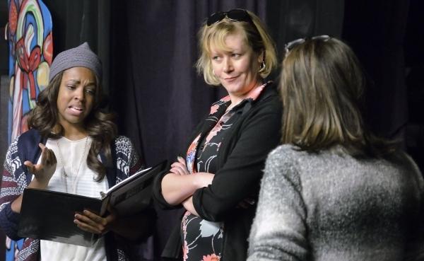 Jillian Austin, left, Lissa Townsend Rodgers, center, and Valerie Carpenter Bernstein rehearse for þÄúReservoir DollsþÄù at the Onyx Theatre at 953 E. Sahara Ave. in Las Vegas on ...