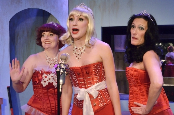 Sugar Shagmore, left, Kady Heard, center, and Lily Star rehearse for þÄúThe Blanche DeBris Emergency Xmas BroadcastþÄù at the Onyx Theatre at 953 E. Sahara Ave. in Las Vegas on M ...