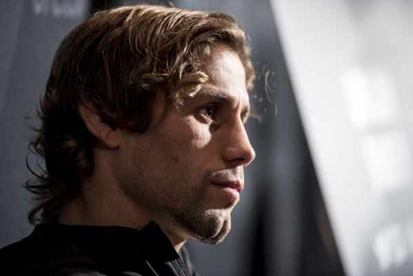 Urijah Faber speaks during the UFC Ultimate Media Day at the MGM Grand hotel-casino in Las Vegas on Wednesday, Dec. 9, 2015. Joshua Dahl/Las Vegas Review-Journal