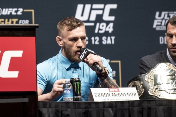 Conor McGregor speaks during the UFC 194 press conference at the MGM Grand Garden Arena in Las Vegas on Wednesday, Dec. 9, 2015. Joshua Dahl/Las Vegas Review-Journal