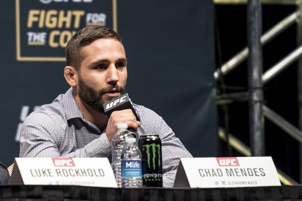Chad Mendes speaks during the UFC 194 press conference at the MGM Grand Garden Arena in Las Vegas on Wednesday, Dec. 9, 2015. Joshua Dahl/Las Vegas Review-Journal