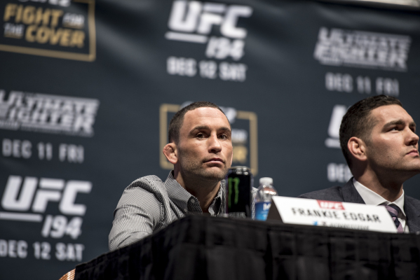 Frankie Edgar glances over during the UFC 194 press conference at the MGM Grand Garden Arena in Las Vegas on Wednesday, Dec. 9, 2015. Joshua Dahl/Las Vegas Review-Journal