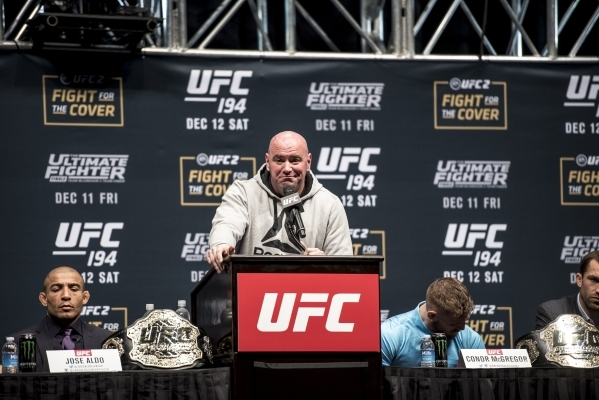 UFC President Dana White reacts during the UFC 194 press conference at the MGM Grand Garden Arena in Las Vegas on Wednesday, Dec. 9, 2015. Joshua Dahl/Las Vegas Review-Journal
