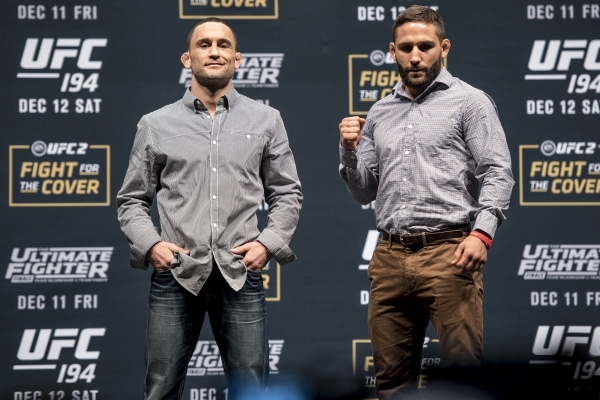Frankie Edgar, left, and Chad Mendes pose for a photo during the UFC 194 press conference at the MGM Grand Garden Arena in Las Vegas on Wednesday, Dec. 9, 2015. Joshua Dahl/Las Vegas Review-Journal