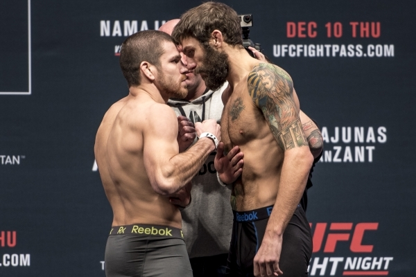 Jim Miller, left and Michael Chiesa pose during weigh-ins for UFC Fight Night at the MGM Grand Garden Arena in Las Vegas on Wednesday, Dec. 9, 2015. Joshua Dahl/Las Vegas Review-Journal